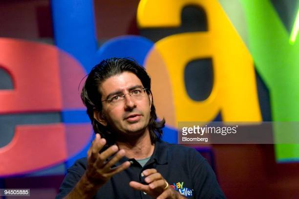 Pierre Omidyar founder and chairman of the board of eBay speaks at the eBay Developer's Conference in Boston Massachusetts Wednesday June 13 2007