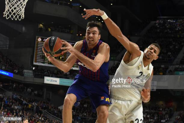 Pierre Oriola #18 of Barcelona Lassa and Walter Tavares #22 of Real Madrid in action during the 2018/2019 Turkish Airlines EuroLeague Regular Season...