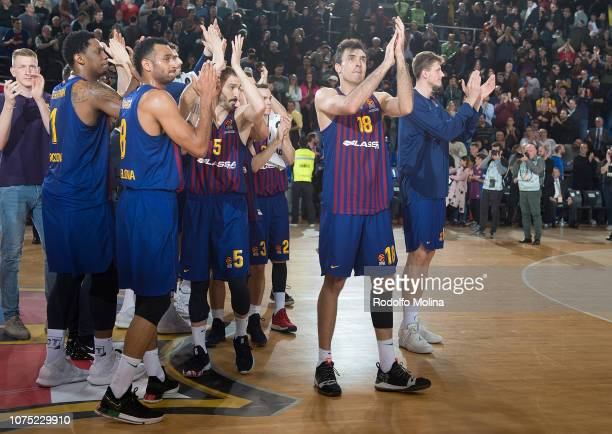 Pierre Oriola #18 of FC Barcelona Lassa celebrates at the end of the 2018/2019 Turkish Airlines EuroLeague Regular Season Round 15 game between FC...