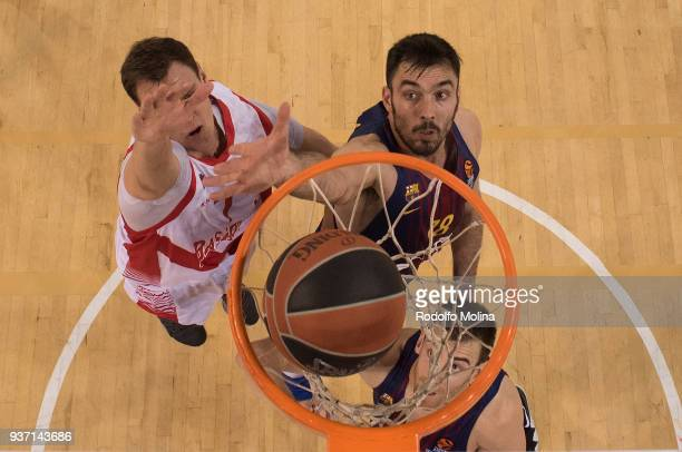 Pierre Oriola #18 of FC Barcelona Lassa in action during the 2017/2018 Turkish Airlines EuroLeague Regular Season Round 28 game between FC Barcelona...