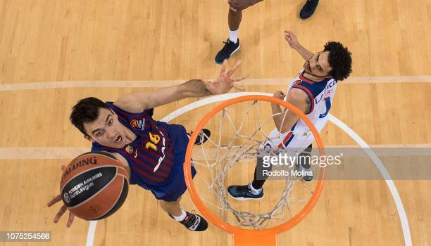 Pierre Oriola #18 of FC Barcelona Lassa in action during the 2018/2019 Turkish Airlines EuroLeague Regular Season Round 15 game between FC Barcelona...