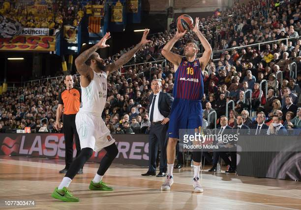 Pierre Oriola #18 of FC Barcelona Lassa in action during the 2018/2019 Turkish Airlines EuroLeague Regular Season Round 16 game between FC Barcelona...