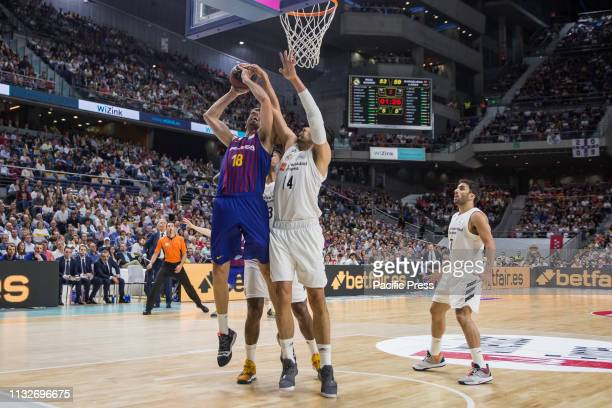 Pierre Oriola during FC Barcelona Lassa victory over Real Madrid in Liga Endesa regular season game celebrated in Madrid at Wizink Center March 24th...