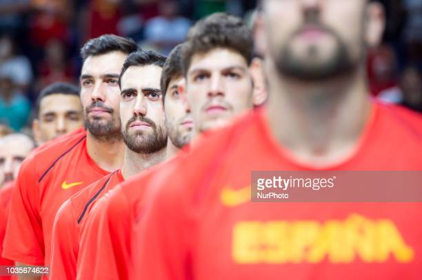 Pierre Oriola Joan Sastre Santiago Yusta and Oriol Pauli of Spain during the FIBA Basketball World Cup Qualifier match Spain against Latvia at Wizink...