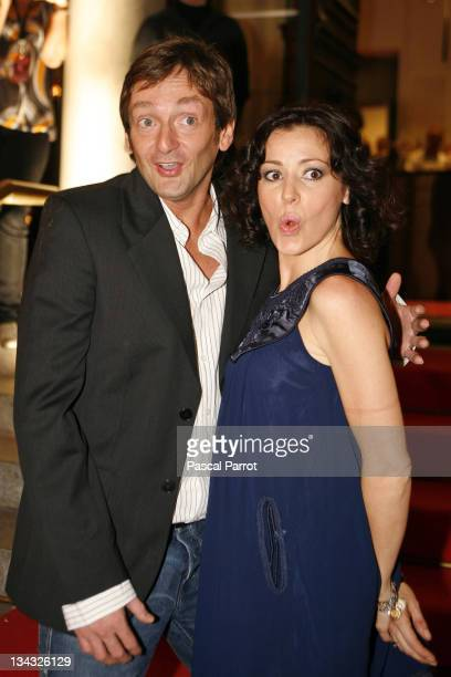 Pierre Palmade and Tina Arena arrive at the 14th edition of the association 'Fight Aids' gala concert at the Opera Theatre on October 6 2007 in...