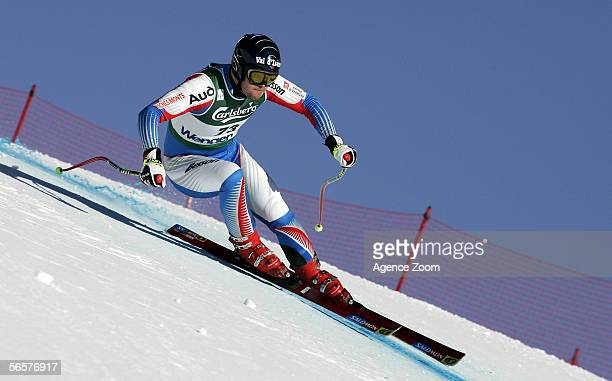 Pierre Paquin of France in action during the FIS Skiing World Cup Men's Downhill training on January 11 2006 in Wengen Switzerland