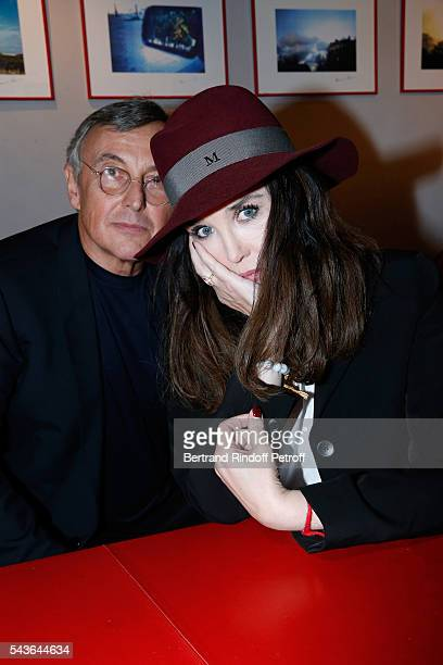 Pierre Passebon and Isabelle Adjani attend the Private View of 'Francoise Sagan Photographer' Photo Exhibition at Galerie Pierre Passebon on June 29...