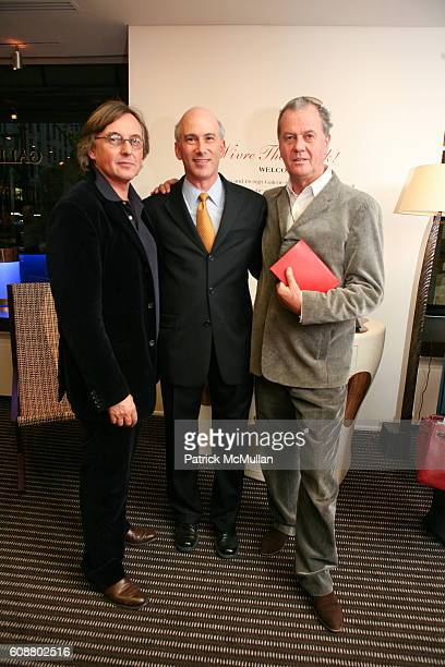 Pierre Passebon Stuart Marton and Jacques Grange attend HIGH TEA FOR THE PREMIERE OF GALERIE MARK HOSTED BY ALEXICO GROUP JACQUES GRANGE PIERRE...