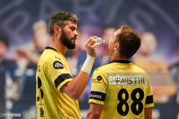 Pierre PATUREL and Jean Loup FAUSTIN of Chambery during the Lidl Starligue match between Paris Saint Germain and Chambery at Stade Pierre de...