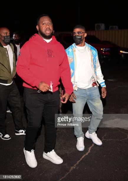 "Pierre ""Pee"" Thomas and Jamie Foxx attend Onyx Friday Nights at Onyx Nightclub on April 24, 2021 in Atlanta, Georgia."
