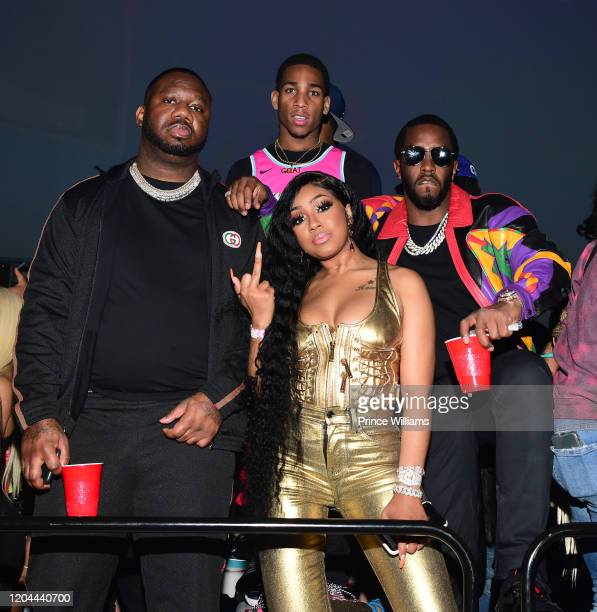 Pierre Pee Thomas Fly Guy DC Yung Miami and Sean Combs attend the Million Dollar Bowl at The Dome Miami on February 3 2020 in Miami Florida