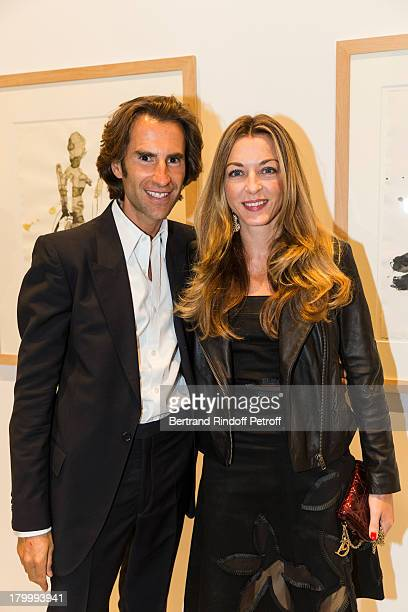 Pierre Pelegry and Arabelle Reille Mahdavi attend the Georg Baselitz exhibition preview and dinner at Thaddeus Ropac Gallery on September 7 2013 in...