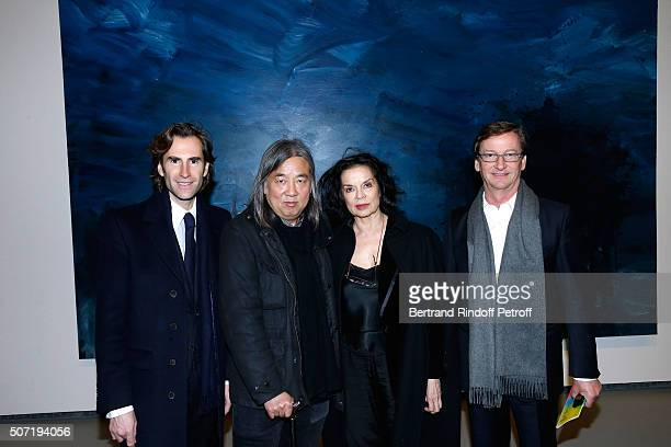 Pierre Pellegry Artist Yan PeiMing Actress Bianca Jagger and Galerist Thaddaeus Ropac attend the 'Bentu' Exhibition at the Louis Vuitton Foundation...