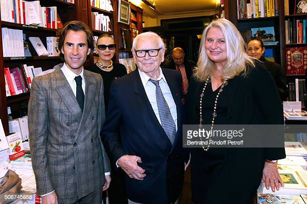 Pierre Pellegry Maryse Gaspard Pierre Cardin and Director of the Bookstore Danielle CillienSabatier attend Princess Gloria Von Thurn und Taxis signs...