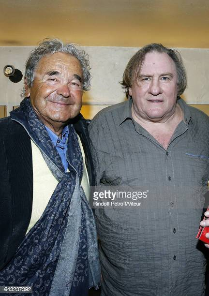 Pierre Perret and Gerard Depardieu pose Backstage after Gerard Depardieu sings Barbara, accompanied on the piano of Barbara by Gerard Daguerre, who...