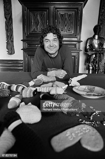Pierre Perret at home with a collection of zizi's (colloquial name for boys penis) sent to him by admirers. The singer, who had a hit song with Le Zizi, was sent dozens of zizi's by imaginative fans. Some were knitted, others featured Japanese prints while a few came in the form of baked bread.
