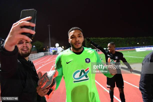 Pierre Petit Homme of Noisy Le Grand FC celebrates after his team wins the French Cup match between Noisy le Grand and Gazelec Ajaccio on January 6...