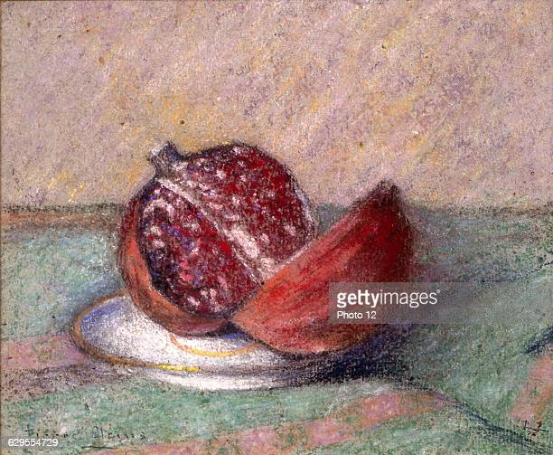 Pierre PrinsFrench schoolNature morte a la grenadeStilllife with pomegranate1873Pastel Private collection