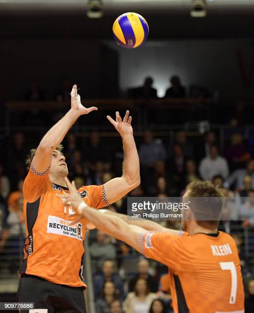 Pierre Pujol and Georg Klein of the Berlin Recycling Volleys during the game between the Berlin Recycling Volleys and the VfB Friedrichshafen on...