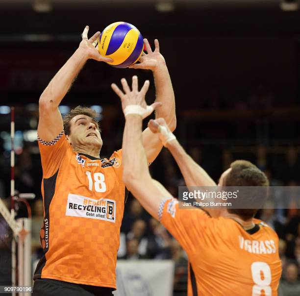 Pierre Pujol and Graham Vigrass of the Berlin Recycling Volleys during the game between the Berlin Recycling Volleys and the VfB Friedrichshafen on...