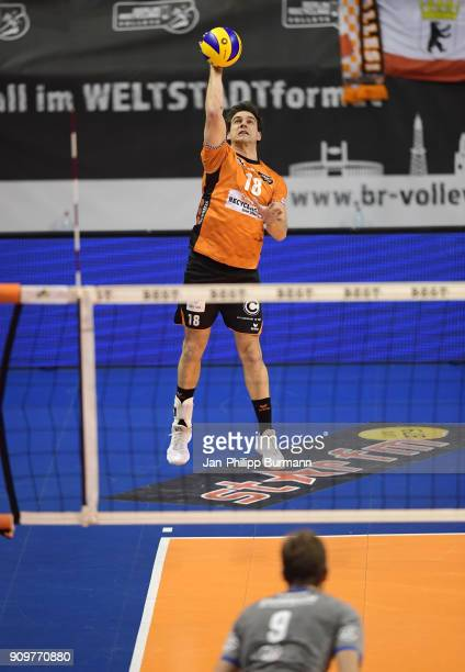Pierre Pujol of the Berlin Recycling Volleys during the game between the Berlin Recycling Volleys and the VfB Friedrichshafen on january 24 2018 in...