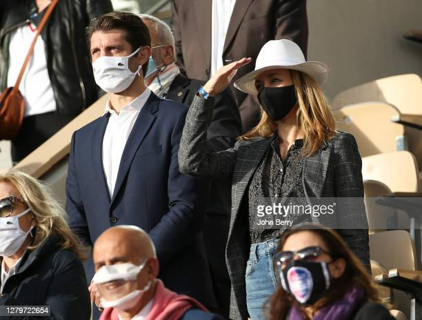 Pierre Rabadan and his girlfriend Laurie Delhostal attend the Women's Final on day 14 of the 2020 French Open on Court Philippe Chatrier at Roland...