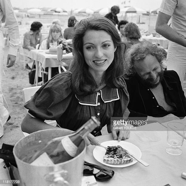 Pierre Richard and MarieFrance Pisier at the Cannes Film Festival in 1975 in Cannes France