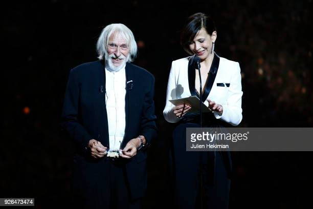 Pierre Richard and Sophie Marceau speak on stage during the Cesar Film Awards 2018 at Salle Pleyel on March 2 2018 in Paris France