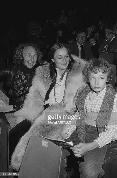 Pierre Richard his wife and son in the show Bertrand du Guesclin in Paris France on November 16th 1976