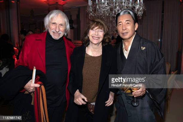 Pierre Richard Jane Birkin and Kenzo Takada attend the 80th Kenzo Takada Birthday Party at Pavillon Ledoyen on February 28 2019 in Paris France