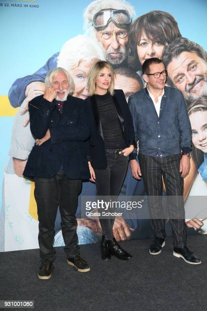 Pierre Richard Laurence Arne and Dany Boon attend the 'Die Sch'tis in Paris' photo call at Hotel Bayerischer Hof on March 12 2018 in Munich Germany