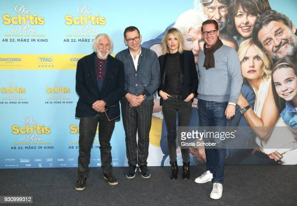 Pierre Richard Laurence Arne Dany Boon and Holger Fuchs Managing Director of Concorde Film attend the 'Die Sch'tis in Paris' photo call at Hotel...