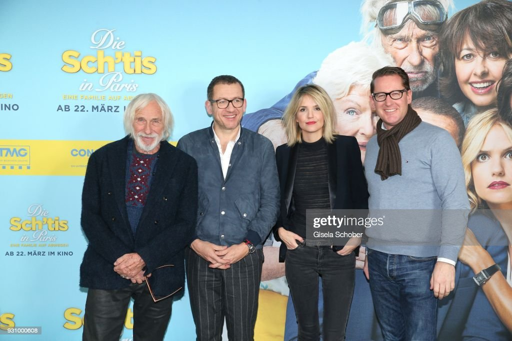 Pierre Richard, Laurence Arne, Dany Boon and Holger Fuchs, Managing Director of Concorde Film attend the 'Die Sch'tis in Paris' photo call at Hotel Bayerischer Hof on March 12, 2018 in Munich, Germany.