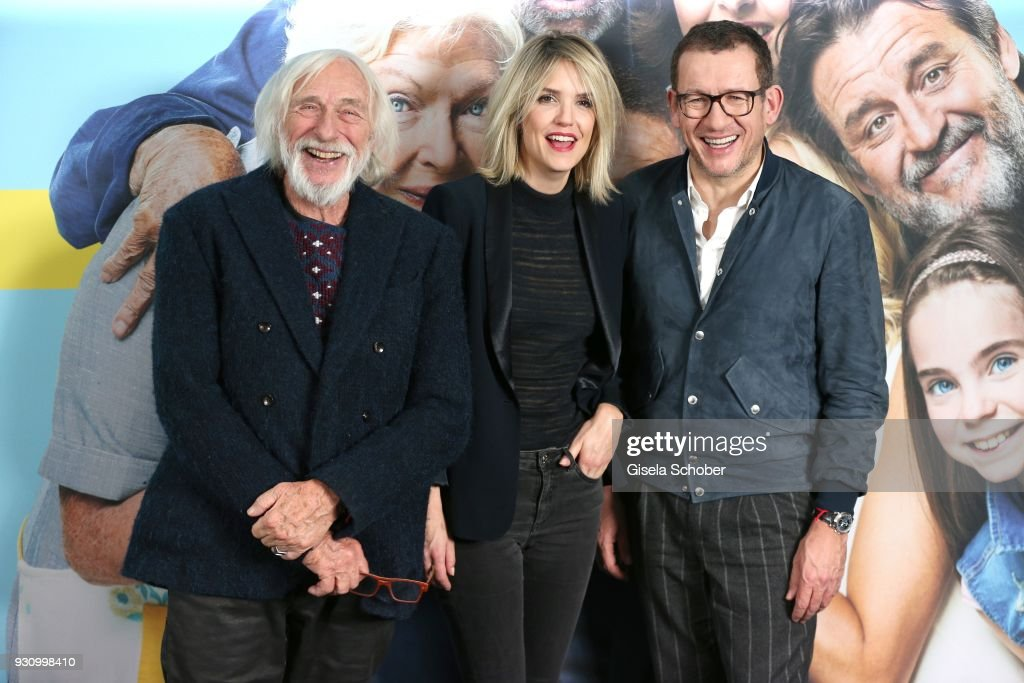 Pierre Richard, Laurence Arne, Dany Boon attend the 'Die Sch'tis in Paris' photo call at Hotel Bayerischer Hof on March 12, 2018 in Munich, Germany.