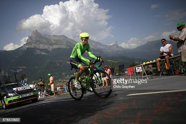 Pierre Rolland of France and CannondaleDrapac Pro Cycling rides during stage eighteen of the 2016 Le Tour de France from Sallanches to Megeve on July...