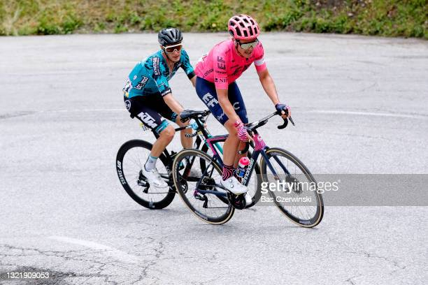 Pierre Rolland of France and Team B&B Hotels P/B KTM & Michael Valgren Andersen of Denmark and Team EF Education - Nippo in breakaway during the 73rd...