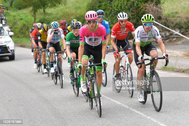 Pierre Rolland of France and Team EF Education First Drapac P/B Cannondale / Benjamin King of The United States and Team Dimension Data / during the...