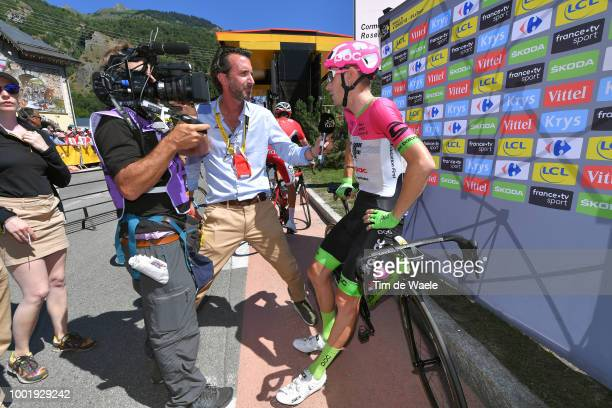 Pierre Rolland of France and Team EF Education First Drapac P/B Cannondale / Sebastien Piquet from France / Journalist /Interview / Press / during...