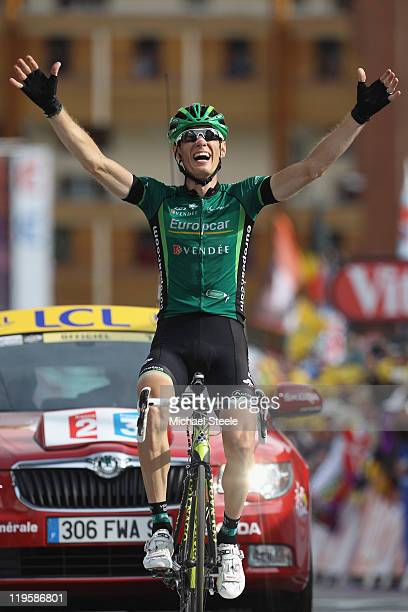 Pierre Rolland of France and Team Europcar celebrates victory during Stage 19 of the 2011 Tour de France from Modane to Alpe d'Huez on July 22 2011...