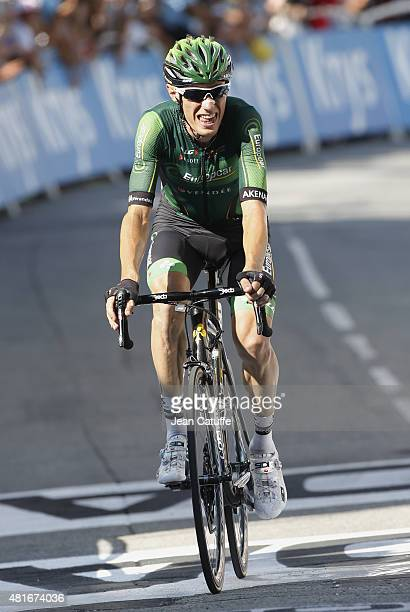 Pierre Rolland of France and Team Europcar finishes second of stage eighteenth of the 2015 Tour de France a 1865 km stage from Gap to Saint Jean de...