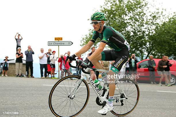 Pierre Rolland of France and Team Europcar in action during stage nineteen of the 2013 Tour de France a 2045KM road stage from Bourg d'Oisans to Le...