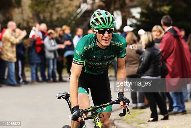 Pierre Rolland of France and Team Europcar in action during the 98th LiegeBastogneLiege cycle road race on April 22 2012 in Liege Belgium