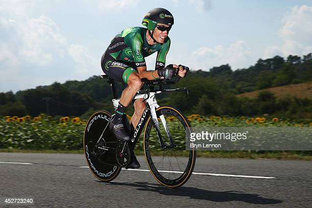 Pierre Rolland of France and Team Europcar in action during the twentieth stage of the 2014 Tour de France a 54km individual time trial stage between...