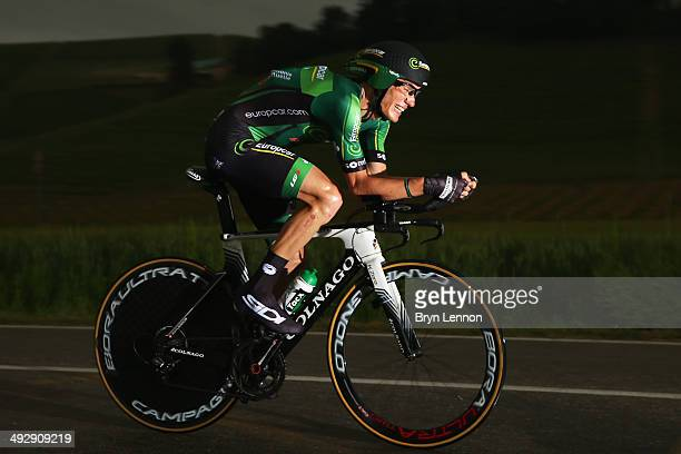 Pierre Rolland of France and Team Europcar in action during the twelfth stage of the 2014 Giro d'Italia a 42km Individual Time Trial stage between...