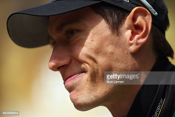 Pierre Rolland of France and Team Europcar looks on during the first stage of the 2014 Tour de France a 190km stage between Leeds and Harrogate on...