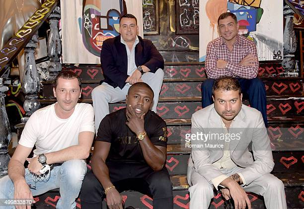 Pierre Salanitro Andre Berto guest Kamal Hotchandani and Antonio Misuraca attend Haute Living Adrien Brody Cover Release Party with Jet Lux InList...