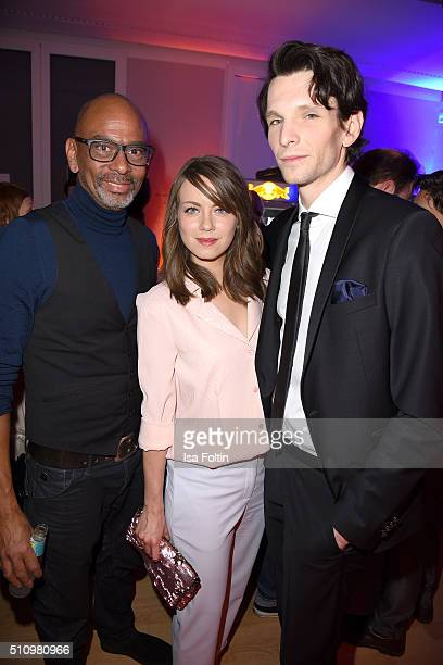 Pierre Sanoussi-Bliss, Alice Dwyer and Sabin Tambrea attend the PantaFlix Party on February 17, 2016 in Berlin, Germany.