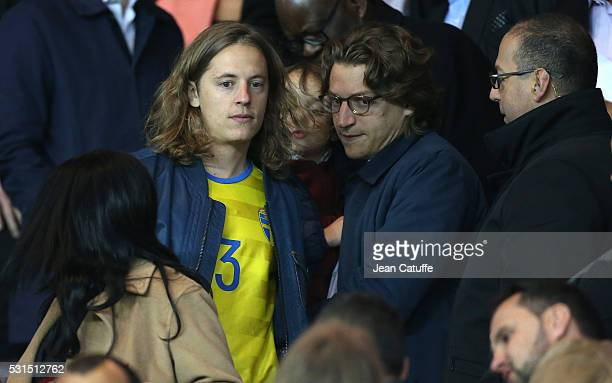 Pierre Sarkozy and his brother Jean Sarkozy attend the French Ligue 1 match between Paris SaintGermain and FC Nantes at Parc des Princes stadium on...