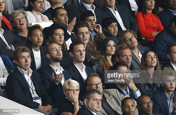 Pierre Sarkozy and his girlfriend Louis Sarkozy and his girlfriend Capucine Anav Jean Sarkozy attend the French Ligue 1 match between Paris...