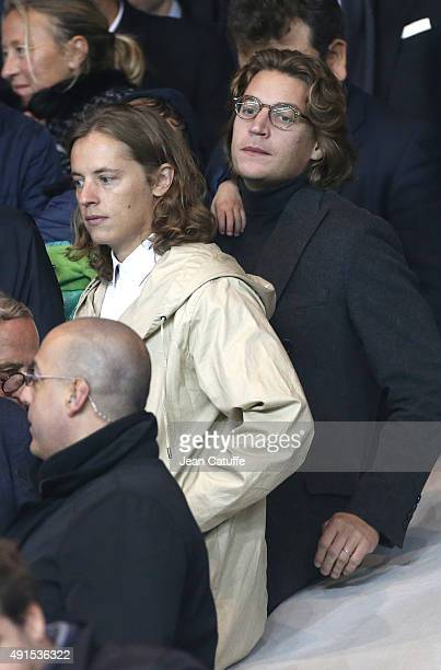 Pierre Sarkozy and Jean Sarkozy attend the French Ligue 1 match between Paris SaintGermain FC and Olympique de Marseille at Parc des Princes stadium...